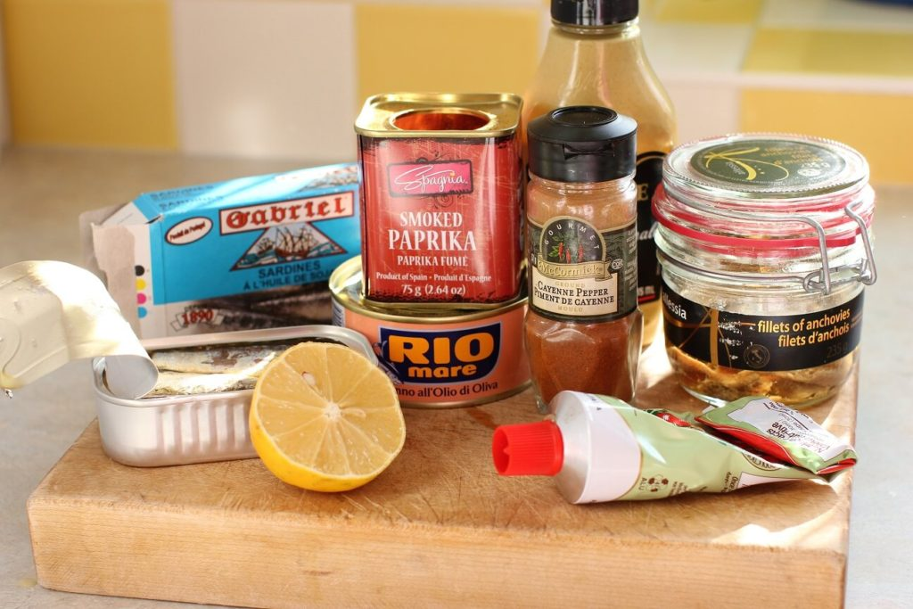 all the ingredients to make fish pate